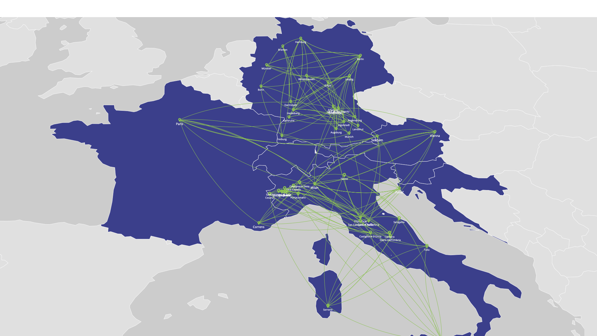 Organic Cities Network Europe - map of member cities towns and municipalities